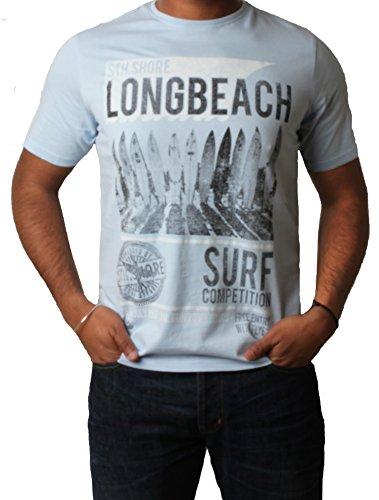 """Männer-T- Shirt gedruckt Grafik Top Kurzarm ' Longbeach """" Sth Shore 1C7622 Graphitgrau"""