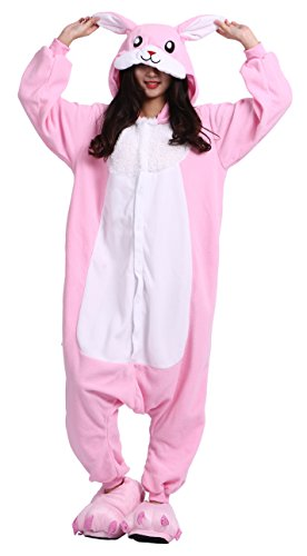 sene Cartoon Tier Kigurumi Pyjamas Nachtwäsche Mit Kapuze Cosplay Kostüm Rosa Kaninchen XL for Höhe 178-187CM (Kaninchen Kostüm Für Erwachsene)