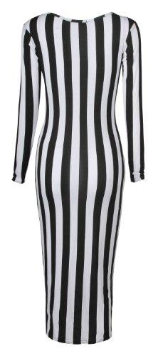 Fast Fashion Robe femme à manches longues Motif léopard crâne zèbre serpent Robe aux genoux - Streifen Drucken
