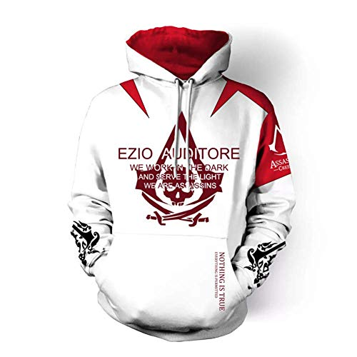 TOOSD Men es Hoodies, Hoodie Klassische Schwert Art Online Assassins Creed Cosplay 3D Spiel Casual Pullover Jacke-S-5L,A,S Art Pullover
