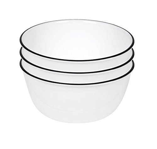 Corelle Livingware 28-Ounce Super Soup/Cereal Bowl, Classic Cafe Black Rim Only (3 Bowls) by Corelle Coordinates Corelle Classic Cafe