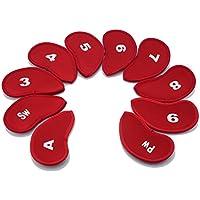 Baiyao - Juego de 10 Fundas para Cabezales de Golf de Neopreno con 10 Tipos Diferentes de Fundas para Cabezas para Todas Las Marcas y tamaños de Cabeza de Palo de Golf de Hierro, Rojo