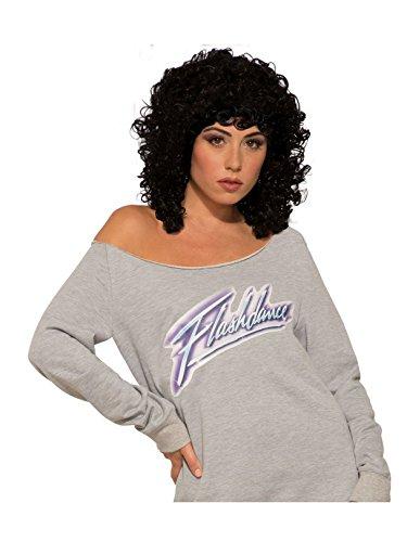 Forum Novelties Flashdance Adult Costume Wig, Curly, Black