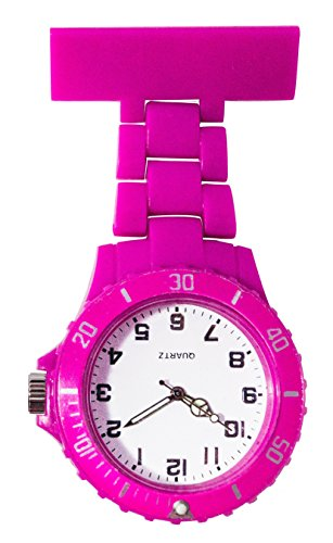 Ellemka JCM-2102 - Schwesternuhr Clip zum Anstecken FOB Kittel Krankenschwester Pflege-r Quarz Puls-Uhr Taschen Ansteck-Nadel Neon Fashion Trend Design Farbe Magenta (Damen-kittel Ausgestattet)