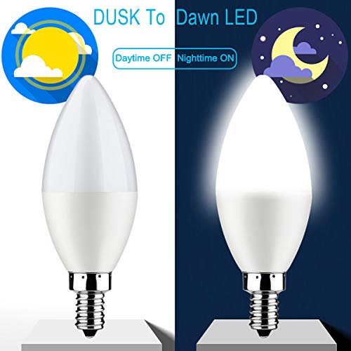 Crepuscolo all'alba lampadina, E14 LED candel sensore lampadine auto on/off 6W 550Lm luce del giorno bianco 6000K per interni/esterni cortile veranda giardino Garage, confezione da 2