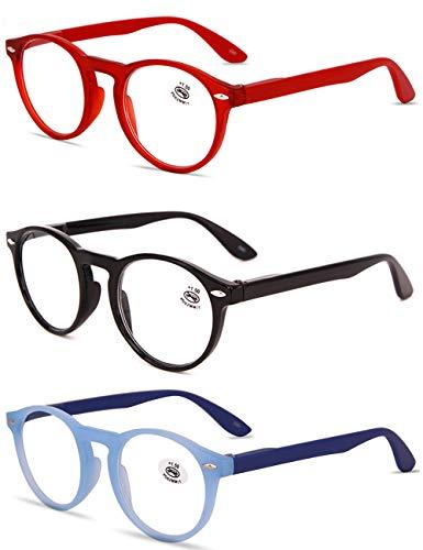 VEVESMUNDO® Lesebrillen Damen Herren Retro Runde Lesehilfe Sehhilfe Arbeitsplatzbrille Nerdbrille Hornbrille mit Stärke Schwarz Leopard Blau Rot Brau (3 Stück Lesebrillen(Rot+Schwarz+Blau), 0)