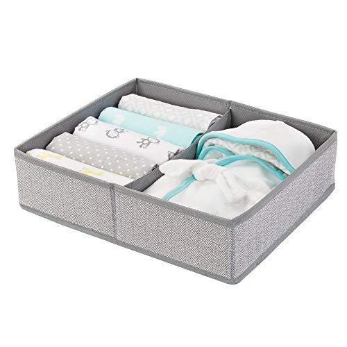 mDesign Baby Organizer mit zwei Fächern – große Aufbewahrungsbox für Windeln, Feuchttücher, Accessoires etc. – ideal als Spielzeug Aufbewahrung – grau