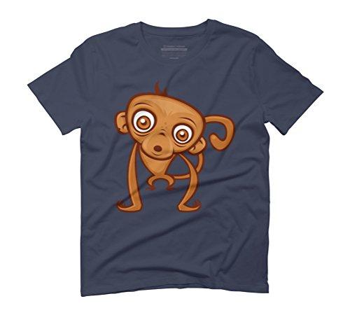Cartoon Monkey Men's Graphic T-Shirt - Design By Humans Navy