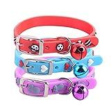Sanwood Halsband für Kleine Hunde und Katzen, Fischgräten-Herz, verstellbar, mit Glöckchen
