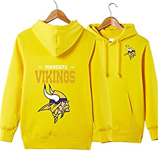 SZRXKJ Männer mit Kapuze Langarm Buchstaben drucken Minnesota Vikings Football Team einfarbig Pullover Hoodies(XXL,gelb)