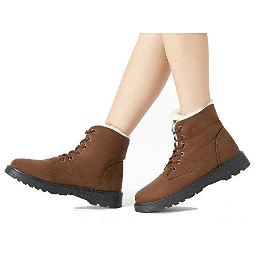 Femmes Martin Bottes Courtes Daim Talon Chaussures Plates Plus Chaud En Peluche Chaussures De Sport Brun Chaussures En Coton