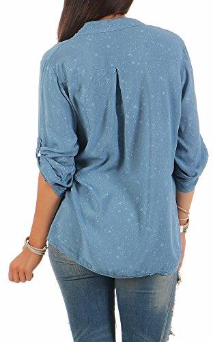 Zarmexx Feine Viskosebluse Hemdbluse Langarm - Fischerhemd Regular Fit Leichte Bluse Tunika Sternchen-Muster One Size Jeansblau