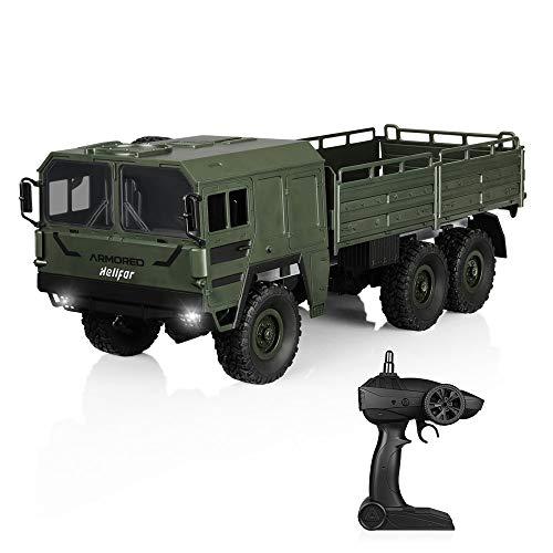 HELIFAR RC Militär Truck 1:16 6WD Ferngesteuertes LKW 12km/h Spielzeug Auto mit 2.4Ghz Fernbedienung Beste Geschenkeidee für Kinder