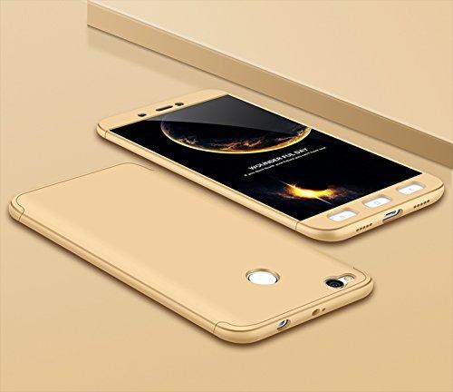 Ququcheng Xiaomi Redmi 4X Hülle,Xiaomi Redmi 4X Schutzhülle[Mit Displayschutz] 3 in 1 Ultra dünn Hard Shell Case 360 Grad Schutz Tasche Etui Handyhülle Cover für Xiaomi Redmi 4X-Gold