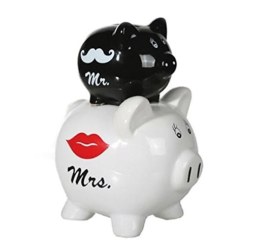 Sparschwein Double Piggy Bank Mr. und Mrs. mit Schnurrbart und Kussmund Design