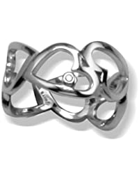 White Ice London Silver Ring with Diamonds DR003 Alternating Cut Out Heart Ring with Diamond