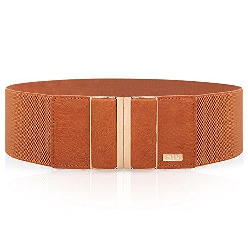 Cinturón ancho elástico para mujer con hebilla de aleación MIJIU Ci