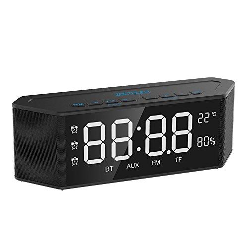 Altavoz Portatil ZOETOUCH Altavoz Bluetooth Potente Inalambrico con Micrófono 30 Horas de Emisión Llamadas Manos Libres/Radio FM/TF Card/Entrada AUX/Reloj/Despertador/Termómetro/Higrómetro