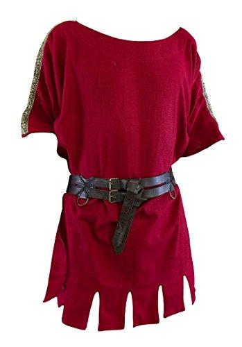 Einfache Römische Tunika aus Baumwolle kurzarm LARP verschiedene Farben Größe XS-4XL (M, (Kostüme Epic Einfache Halloween)