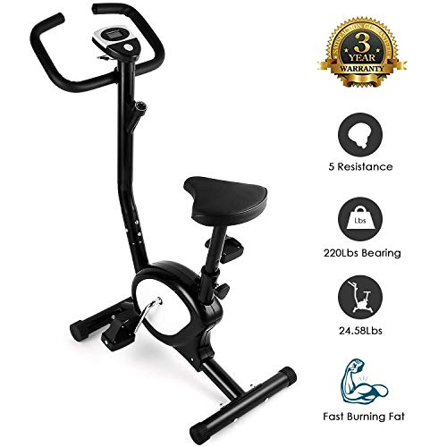AGM Vélo d'Appartement, Vélo d'Intérieur Cardio Fitness Musculation Silencieux Facile Ecrans Ordinateurs Réglable Résistance Pas Cher 100 Kg Capacité