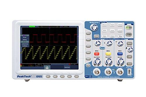 """PeakTech 1265 – 2-Kanal Speicher-Oszilloskop (30MHz) mit USB-, VGA-, LAN-Schnittstelle & 8"""" Hochauflösendes TFT Farbdisplay, 20 Automatische Messmodi, Speicher Digital-Oszilloskop (10.000/Ch.)"""