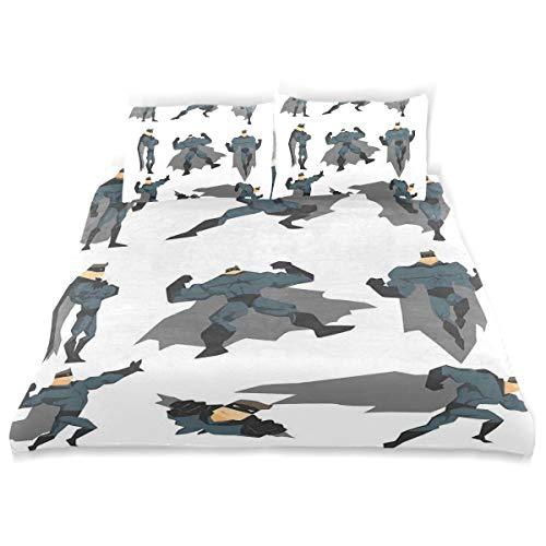 Teppich Kostüm Fliegender - MJIAX Bettwäsche-Set, Superhelden, lustiges Cartoon-Mann im Kostüm, Fliegender Lauf, Superkräfte, dekoratives Design, 3-teiliges Bettwäsche-Set mit 2 Kissenbezügen, Einzelgröße, Textil, Doppelbett