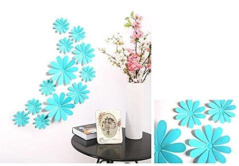 Chrysantheme Spiegel Aufkleber DIY Home Kunst Dekoration Wohnzimmer Schlafzimmer Kinderzimmer Selbstklebende abnehmbare Acryl , blue
