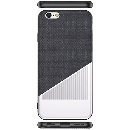 Coque iPhone 7 / 8, WorCord iPhone 7 / 8 Ultra Mince Métal Etui Protecteur Luxe Argent Brossé et Tissu de Nanmu Élégant Classique pour iPhone 7 / 8 --- Noir Black and White