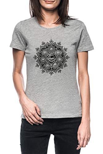 Anahata Siete Chakra Flor Mandala Mujer Gris Camiseta Manga Corta Women's Grey T-Shirt