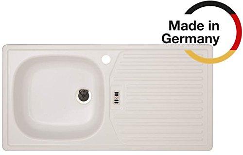 Rieber Einbauspüle E 86 K weiss Becken links Küchenspüle MADE IN GERMANY 860x435 mm korrosionsbeständig und lichtecht Emaillierte Spüle 1 Becken mit Abtropffläche Spülbecken Zubehör Unterschrankbreite 45 cm