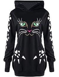 Moonuy Damen Long Hoodie Damen Longsleeve Sweatshirt Niedlicher Cat Print  Hoodie mit Ohren mit Kapuze Elegant 0e4dae7802