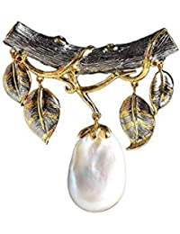 9f489032844d Lnyy Natural Collar de Perla Barroca Estilo 925 Plata Cuero cordón Colgante  58 ...
