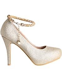 Zapatos Mujer de Tacón Alto Aguja Dorados Plataforma Purpurina Brillantes Diseño Nuevo
