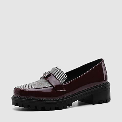 MENGLTX SPring Sommer Büro Lady Shallow Loafers Plus Größe 34-43 Schwarz Plattform Frauen Schuhe Frau Med Heels Pumps 4 Weinrot