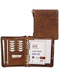 465ea1f2fb ALMADIH Agenda in pelle A5 con cerniera Portadocumenti Calendario 2019  Marrone Cartella Portablocco Organizer Porta Documenti
