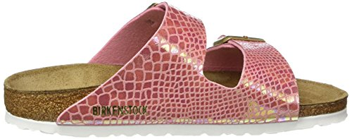 BIRKENSTOCK Damen Arizona Birko-Flor Pantoletten Pink (Shiny Snake Rose)