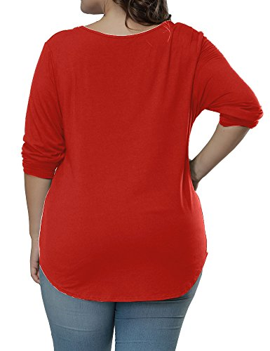 Uoohal Damen Übergröße Herbst Lange Ärmel T-Shirt Locker V-Ausschnitt Frauen Tops Rot