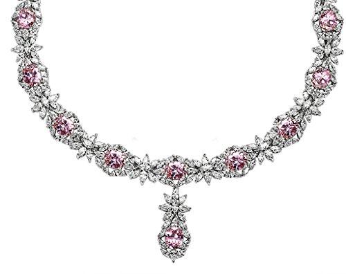 Epinki Plaqué Argent Coupe Ronde Zircon Cubique Diamant Fleur Cristal Collier Pour Femme 5 Couleurs En Option Rose