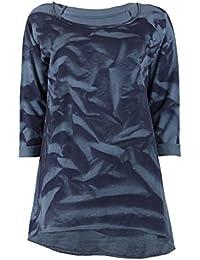 Langarmshirt Loose Fit mit Krempelärmel und allover Batik Muster
