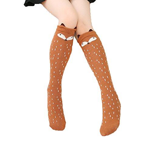 coffee-fox-children-kids-baby-girl-straight-pure-cotton-cartoon-socks-stockings