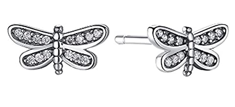 SaySure- 925 Sterling Silver Petite Dragonfly Small Stud