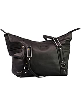 Damen Handtasche in Schwarz mit Fächern - Alessandro Salvatore Collection
