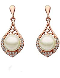 Chooseberry Valentine Collection 18K Gold Plated Cubic Zirconia And Pearl Drop Earrings For Women In Gold