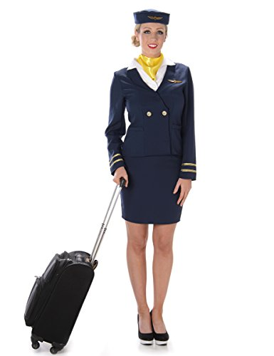 Stewardess Damenkostüm Flugbegleiterin blau-weiss-gelb L (Uniform Stewardess)