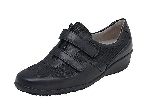 WALDLÄUFER signore Velcro scarpe Haisha 545302-301-001 nero, Gr. 36 - 41, in pelle, intercambiabile, larghezza H schwarz