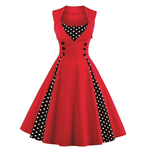 Ghope Damen 1950er Vintage Abendkleid Elegant Trägerkleid Retro Polka Dots Cocktailkleid Faltenrock Kleid XS-4XL Rot
