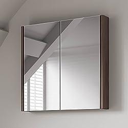 Armario para el baño, con espejo, de nogal, 600 x 650 mm
