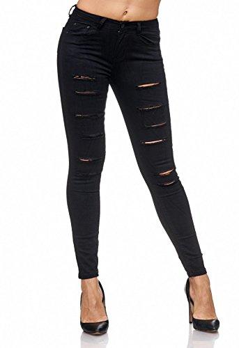 Damen Jeans Ripped Hose Destroyed Treggings Biker Risse Löcher D2084, Farben:Schwarz, Größe Damen:36 / S (Elastische Jeans Schwarze)