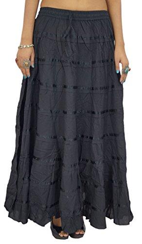 Hippie Frauen Kleidung Gypsy Rock Lang Maxi Baumwolle Beach Wear (Hippie Voller Länge Wickelrock)