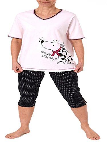 Normann Copenhagen Damen Capri Pyjama Kurzarm Hundemotiv, 3/4-Hose Tupfen - auch in Übergrössen 204 90 004, Farbe:rosa;Größe:48/50